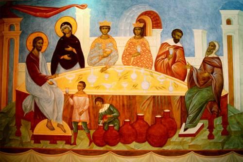 брак в кане галилейской обращение воды в вино изображения иисуса